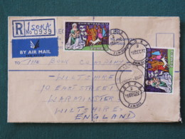 Zambia 1972 Registered Cover To England - Christmas - Sheeps - Zambie (1965-...)