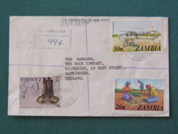 Zambia 1978 Registered Cover To England - Elephant - Plane - Flying Doctors - Harvesting Groundnuts - Zambie (1965-...)