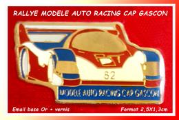 SUPER PIN'S RALLYE : MODELE AUTO RACING CAP GASCON, émail Base Or + Glaçage Format 2,5X1,3cm - Rallye