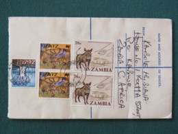 Zambia 1979 Registered Cover To England - Dance - Baobab Tree - Wharthog Wild Pig Helicopter - Zambie (1965-...)