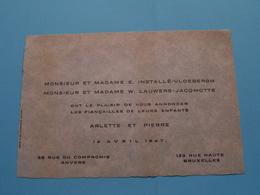 ARLETTE Et PIERRE Le 12 Avril 1947 > ANVERS / BRUXELLES ( Installé-Vloebergh & Lauwers-Jacqmotte ) ( Zie Foto's ) ! - Mariage
