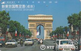 Télécarte Japon / NTT 250-136 - Site - FRANCE PARIS ARC DE TRIOMPHE / NARITA AIRPORT - AIRLINES Japan Phonecard / Avion - Japon