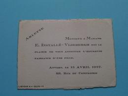 ARLETTE > 15 Avril 1927 > ANVERS ( E. Installé - Vloebergh > Anvers ) ( Zie Foto's ) ! - Naissance & Baptême