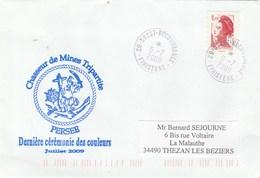 Dernière Cérémonie Des Couleurs Chasseur De Mines PERSEE - Brest 9/7/2009 - Marcophilie (Lettres)