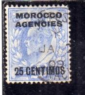 MAROC MAROCCO MOROCCO AGENCIES 1907 1910 KING EDWARD RE EDOARDO CENT. 20c On 2p USATO USED OBLIT - Uffici In Marocco / Tangeri (…-1958)