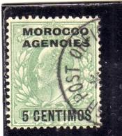 MAROC MAROCCO MOROCCO AGENCIES 1907 1910 KING EDWARD RE EDOARDO CENT. 5c On 1/2p USATO USED OBLIT - Uffici In Marocco / Tangeri (…-1958)