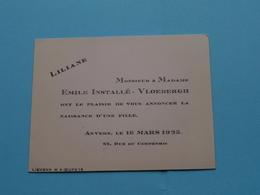 LILIANE > 16 Mars 1925 > ANVERS ( Emile Installé - Vloebergh > Anvers ) ( Zie Foto's ) ! - Naissance & Baptême