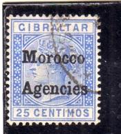 MAROC MAROCCO MOROCCO AGENCIES 1898 QUEEN VICTORIA REGINA VITTORIA CENT. 25c  USATO USED OBLIT - Uffici In Marocco / Tangeri (…-1958)