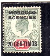 MAROC MAROCCO MOROCCO AGENCIES 1929 1931 KING GEORGE V RE GIORGIO CENT. 20c On 2p MLH - Uffici In Marocco / Tangeri (…-1958)