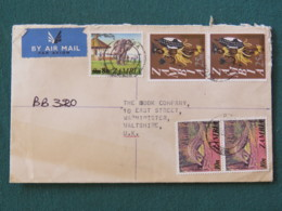 Zambia 1979 Registered Cover To England - Elephant - Warrior Traditional Costume - Pangolin Ant Eater - Wax Sealed - Zambie (1965-...)