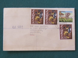 Zambia 1980 Registered Cover To England - Elephant - Warrior Traditional Costume - Wax Sealed - Zambie (1965-...)