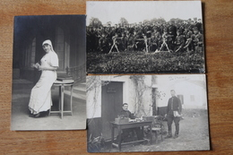 3 Cartes Photos Militaires Dont 5 Eme RA , Cie De Mitrailleurs, Infirmière 1914 - Photographs