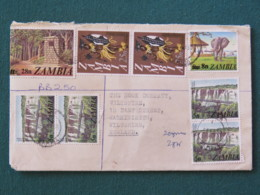 Zambia 1980 Registered Cover To England - Water Falls - Elephant - Warrior Traditional Costume - Wax Sealed - Zambie (1965-...)