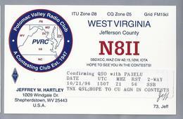 US.- QSL KAART. CARD.  N8II. JEFFREY W. HARTLEY, SHEPHERDSTOWN, WEST VIRGINIA. JEFFERSON COUNTY. PVRC. U.S.A. ARRL. - Radio-amateur