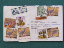 Zambia 1982 Registered Cover To England - Bird Guinea Fowls Ceramic Maker Dance - Mineral (folded But Cutted When Letter - Zambie (1965-...)