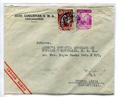 """SOBRE COMERCIAL JUAN CUGLIEVAN S.M.A."""" CIRCULADO CHICLAYO, PERU A BUENOS AIRES, ARGENTINA AÑO 1944 CORREO AEREO -LILHU - Perú"""