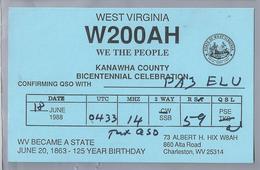 US.- QSL KAART. CARD.  W200AH. ALBERT H. HIX, CHARLESTON, WEST VIRGINIA. KANAWHA COUNTY. U.S.A. - Radio-amateur