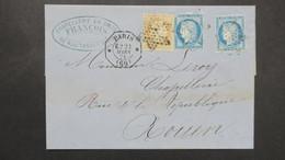 Cachet De Levée Exceptionnelle Paris 1874 Affranchissement A 65 Ct Pour Rouen - Postmark Collection (Covers)