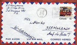 Luftpost, MacDonald, Roxboro Nach Marbach 1973 (77828) - Briefe U. Dokumente