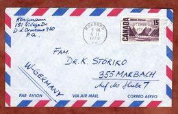 Luftpost, Landschaft, Roxboro Nach Marbach 1973 (77829) - Briefe U. Dokumente