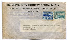 SOBRE COMERCIAL CIRCULADO LIMA, PERU A BUENOS AIRES, ARGENTINA AÑO 1946. VIA AEREA AIR MAIL -LILHU - Perú