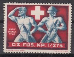 SCHWEIZ Soldatenmarke: GZ.FÜS.KP. I/274, Aktivdienst 1940, Ungebraucht - Soldaten Briefmarken