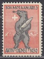 SCHWEIZ Soldatenmarke: SCH.MOT.KAN.ABT. 3, Aktiv-Dienst 1939, Ungebraucht - Vignettes