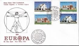 Türk. Zypern 205-296 A+B, FDC, Moderne Architektur 1987 - Europa-CEPT