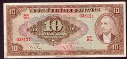 Turkey 10 Lirasi 1948, - Turchia