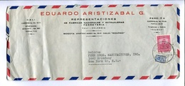 SOBRE COMERCIAL CIRCULADO CALI, COLOMBIA A NEW YORK U.S.A. AÑO 1953. VIA AEREA, AIR MAIL -LILHU - Colombia