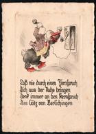 C7144 - Orig. Radierung Handabzug - Scherzkarte Humor - KKB - Humor