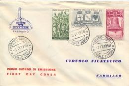 Italia Italy 1958 FDC FABRIANO 40° Vittoria Nella Prima Guerra Mondiale 40th Victory In The First World War - Prima Guerra Mondiale
