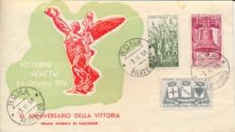Italia Italy 1958 FDC BUSTA ROMA 40° Vittoria Nella Prima Guerra Mondiale 40th Victory In The First World War - Prima Guerra Mondiale