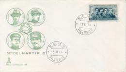 Italia Italy 1966 FDC CAPITOLIUM 50° Morte Degli Irredentisti Battisti Chiesa Filzi Sauro 50th Death Irredentist - Prima Guerra Mondiale