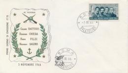 Italia Italy 1966 FDC PEGASO 50° Morte Degli Irredentisti Battisti Chiesa Filzi Sauro 50th Death Irredentist - Prima Guerra Mondiale
