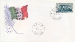 Italia Italy 1966 FDC RODIA 50° Morte Degli Irredentisti Battisti Chiesa Filzi Sauro 50th Death Irredentist - Prima Guerra Mondiale