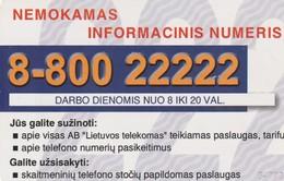 LITUANIA. CHIP. Information Number 8-800 22222. LT-LTV-C022. (075). - Lituania