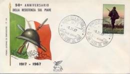 Italia Italy 1967 FDC PEGASO 50° Battaglia Di Resistenza Sul Piave 50th Battle Of Resistance On The River Piave - Prima Guerra Mondiale