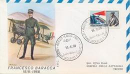 Italia Italy 1968 FDC ROMA 50° Morte Francesco Baracca Asso Dell'aviazione 50th Death Ace Of The Italian Air Force - Prima Guerra Mondiale