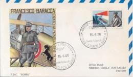 Italia Italy 1968 FDC ROMA 50° Morte Francesco Baracca Asso Dell'aviazione 50th Death Ace Of The Italian Air Force - Guerre Mondiale (Première)