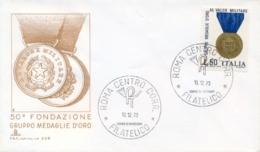 Italia Italy 1973 FDC CAPITOLIUM 50° Fondazione Gruppo Medaglie D'Oro Al Valor Militare - Militaria