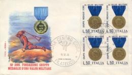 Italia Italy 1973 FDC ROMA 50° Fondazione Gruppo Medaglie D'Oro Al Valor Militare - Militaria