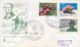 Italia Italy 1972 FDC CAPITOLIUM Viaggiata Centenario Fondazione Corpo Degli Alpini 100th Foundation Alpine Troops Corps - Militaria