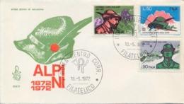 Italia Italy 1972 FDC VENETIA Centenario Fondazione Corpo Degli Alpini 100th Foundation Of The Alpine Troops Corps - Militaria