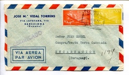 SOBRE COMERCIAL CIRCULADO BARCELONA ESPAÑA A ENCARNACIÓN PARAGUAY AÑO 1956 ENVELOPE CIRCULEE PAR AVION REGISTRED -LILHU - Poste Aérienne