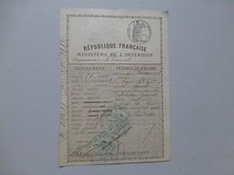 16 MANSLE 1887 Permis De Chasse Jules Laurent Né à Cozes, Ref 488 ; PAP05 - Documents Historiques