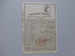 16 LIMALONGES 1892 Permis De Chasse De Pierre Ayrault, Ref 490 ; PAP05 - Documents Historiques