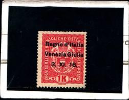 "6612B) Francobolli Austriaci Sovrastampati ""Regno D'Italia Venezia Giulia 3-XI-18""- 1 K. Stemma -MLH* - 8. WW I Occupation"