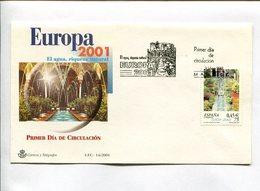 EUROPA 2001 EL AGUA RIQUIZA NATURAL. MADRID ESPAÑA 2001 ESPAGNE ENVELOPE FDC SOBRE PRIMER DIA  -LILHU - 1931-Oggi: 2. Rep. - ... Juan Carlos I