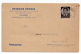 1938 YUGOSLAVIA, CROATIA, ZAGREB TO STARI VRBAS, SPANICEVI BOMBONI, SWEETS MANUFACTURING, CORRESPONDENCE CARD - Covers & Documents